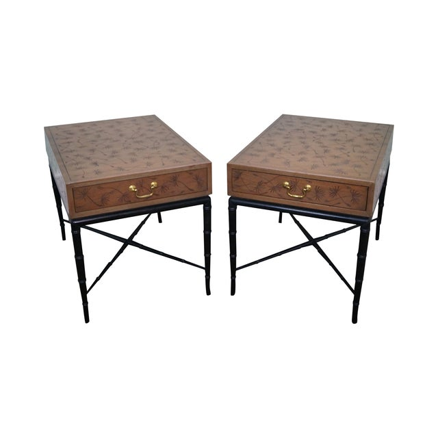 Image of Kittinger Thistle Faux Bamboo End Tables - Pair