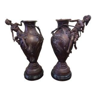 Art Nouveau Style Bronze Vases - A Pair