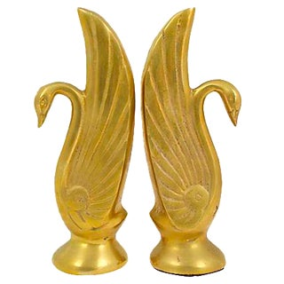 Mid-Century Swan Bookends - a Pair