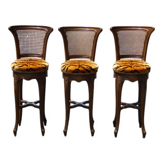 Vintage French Country Cane & Tiger Upholstered Swivel Barstools- Set of 3