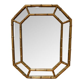 Vintage Hollywood Regency Gold Faux Bamboo Mirror