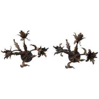 Iron Floral Wall Sconces - A Pair