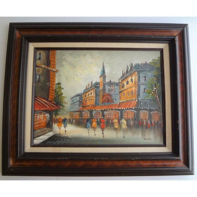 Vintage Impressionist European Street Scene Signed 'Simon' Oil on Canvas - Image 2 of 11