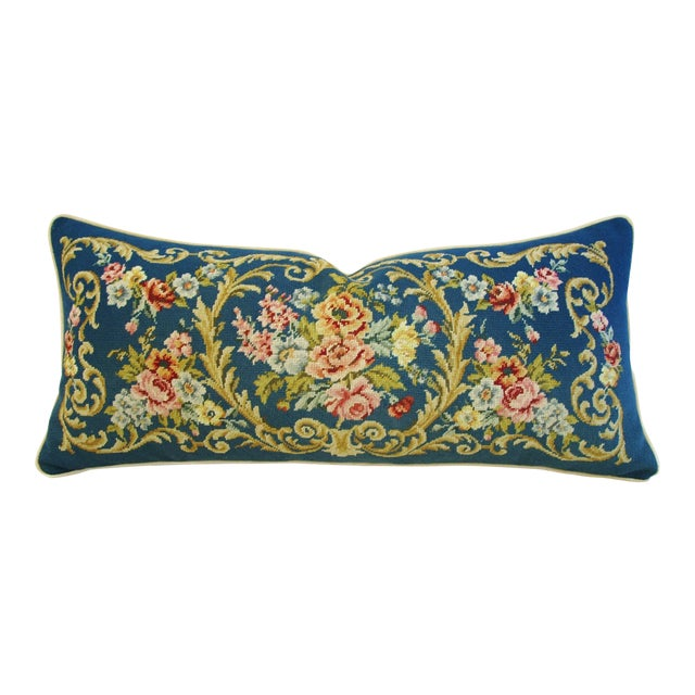 Custom 19th-C. French Needlepoint Floral Pillow - Image 1 of 11