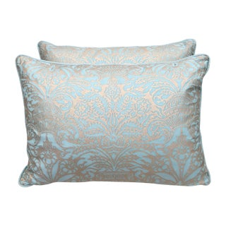 Aqua Marine & Silvery Gold Fortuny Pillows - Pair