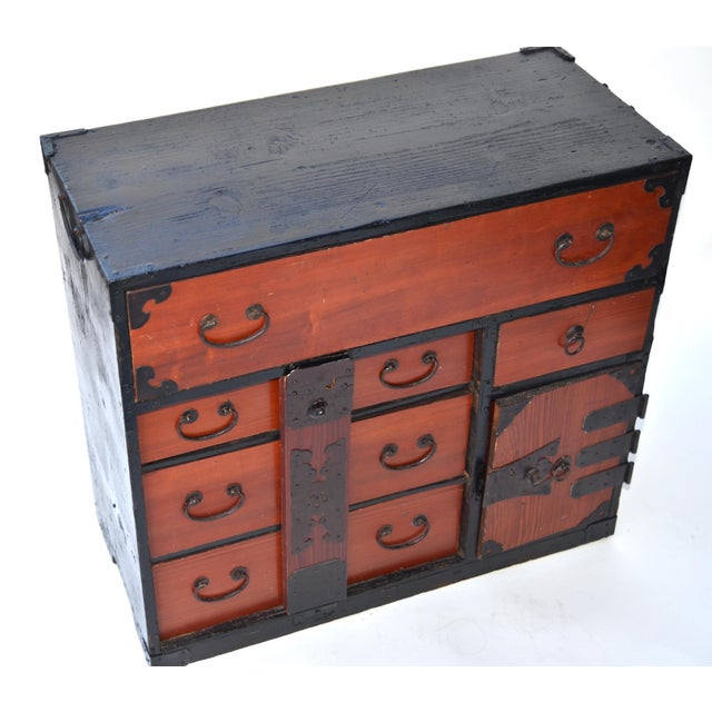 Antique Japanese Lacquered Small Tansu Chest - Image 4 of 6