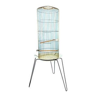 Mid Century Modern Bernard Edward Beco Brass Tripod Leg Floor Stand Bird Cage