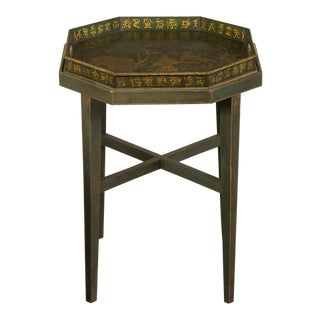 Chinoiserie Painted, Gilded Octagonal English Tray Coffee circa 1910