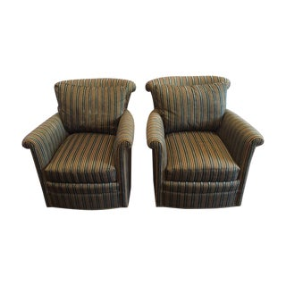 Contemporary Striped Swivel Chairs - A Pair