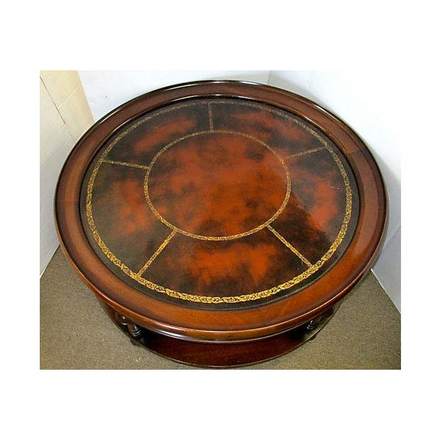 Two-Tiered Round Mahogany & Leather Coffee Table - Image 3 of 4