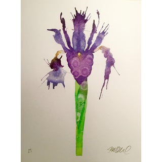 "Steve Klinkel ""Purple Iris"" Watercolor Painting"