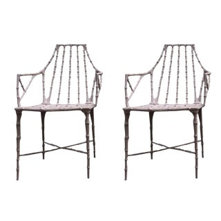 Faux Bamboo Chinese Chippendale Patio Chairs - A Pair