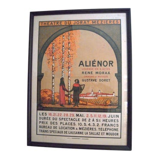 Original Swiss Theater Poster for 'Aliénor,' circa 1910