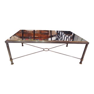 Large Steel, Brass and Mirror Topped Cocktail Table, France circa 1970