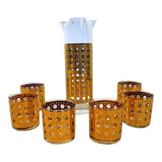Gold Caned Tumblers and Carafe Set - Set of 7