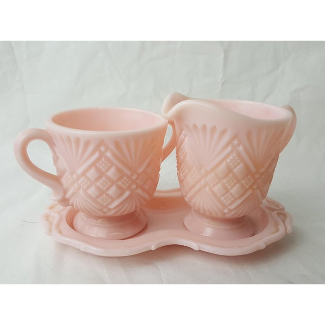 Image of Fostoria Pink Cream & Sugar Set