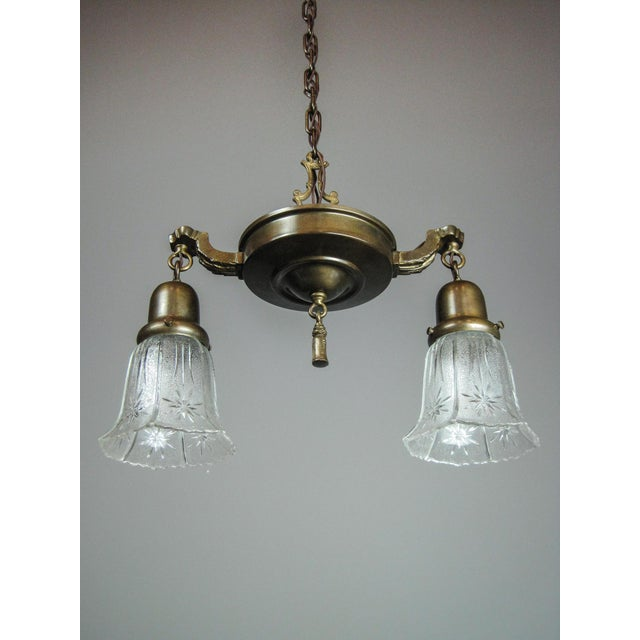Original Antique Pan Light Fixture (2-Light) - Image 3 of 7