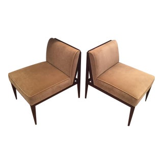 Taupe Julian Chichester Velvet Chairs - A Pair