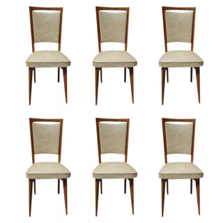 Beautiful Set Of Six French Art Deco Sycamore Dining Chairs Circa 1940s.