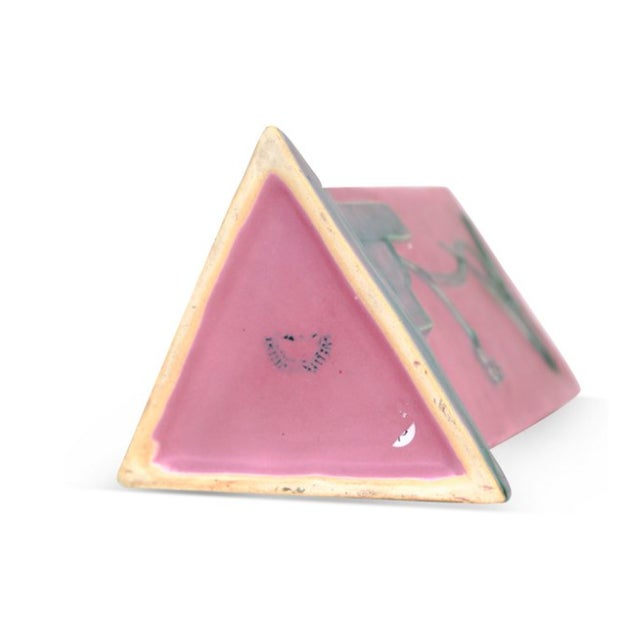 Pink & Teal Art Deco Triangular Vase - Image 3 of 3