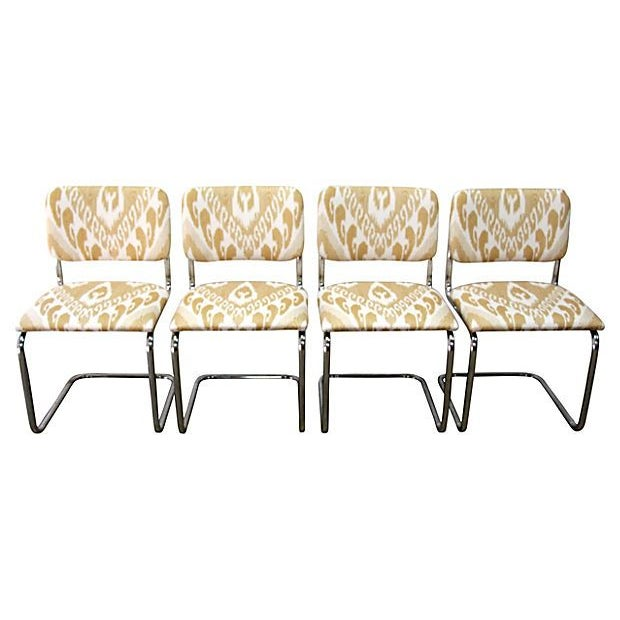 Ikat Cantilevered Chrome Chairs - Set of 4 - Image 1 of 7
