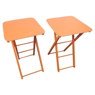 Orange Mid Century Collapsible Side Tables - Pair