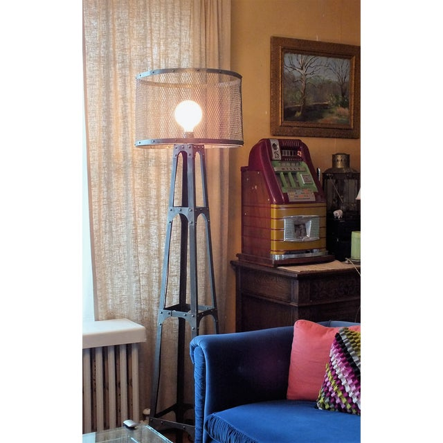 Recycled Industrial Style Floor Lamp - Image 3 of 8