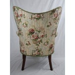Image of Floral Wingback Armchairs - A Pair