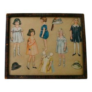 1920s Framed Vintage Paper Doll Collection
