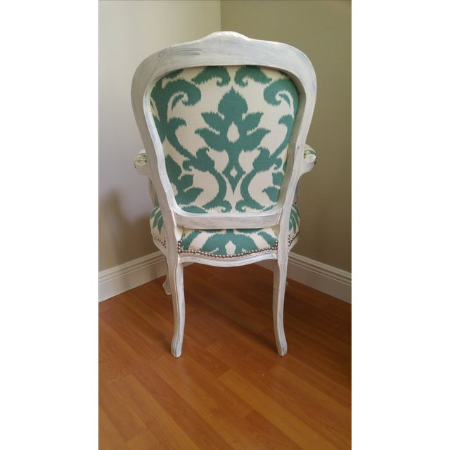 Vintage Victorian Ikat Print Arm Chair - Image 4 of 5