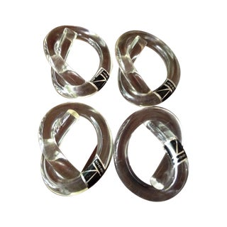 Vintage Lucite Knot Napkin Rings - Set of 4