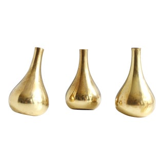 Jens Quistgaard for Dansk Brass Onion Taper Candle Holders - Set of 3