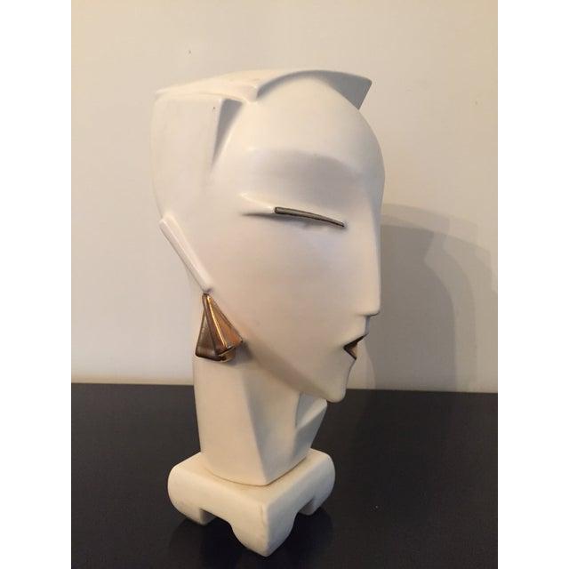 Vintage 1980s Deco Revival White Bust Sculpture - Image 6 of 9