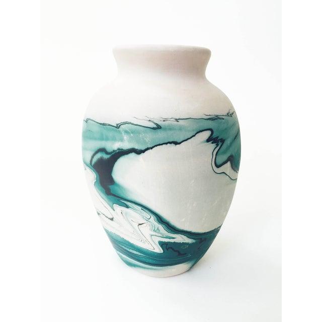 Vintage Nemadji Teal Pottery Vase - Image 4 of 5