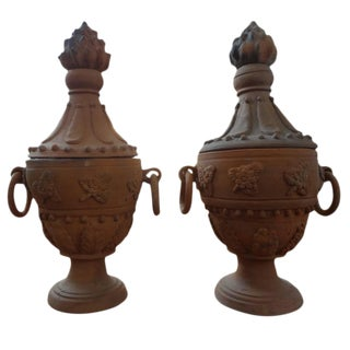 Neoclassical Style Terra Cotta Urns - A Pair