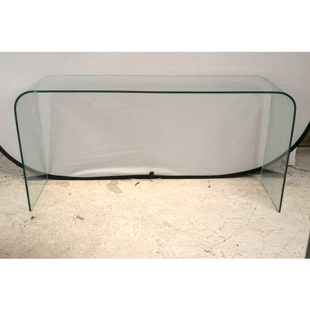 Glass Waterfall Console in the Style of Pace - Image 2 of 6