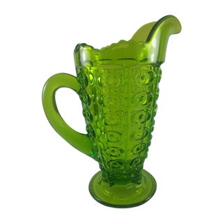 Viking Green Art Glass Bullseye Pitcher