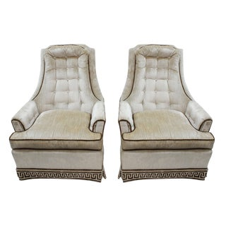 1980s Vintage Tufted Velvet Peyton Chairs- A Pair