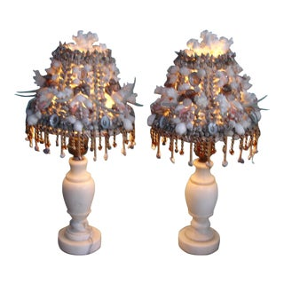 Antique Italian Alabaster Vanity Lamps with Shelled Lampshades - A Pair