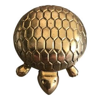 Vintage Brass Turtle Trinket Box