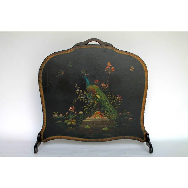 Hand Painted Leather & Wood Fireplace Screen - Image 2 of 7