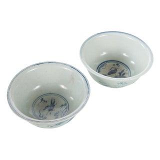 White & Blue Chinese Antique Porcelain Bowls - A Pair