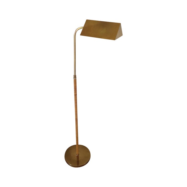 Image of Brass & Rattan Wrapped Tent Shade Pharmacy Lamp