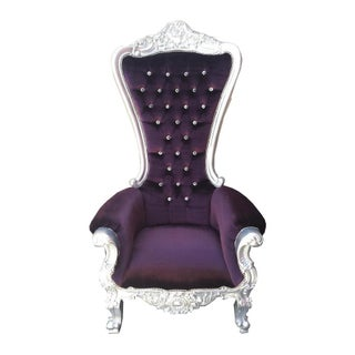 Tall Plum Purple Velvet Chair