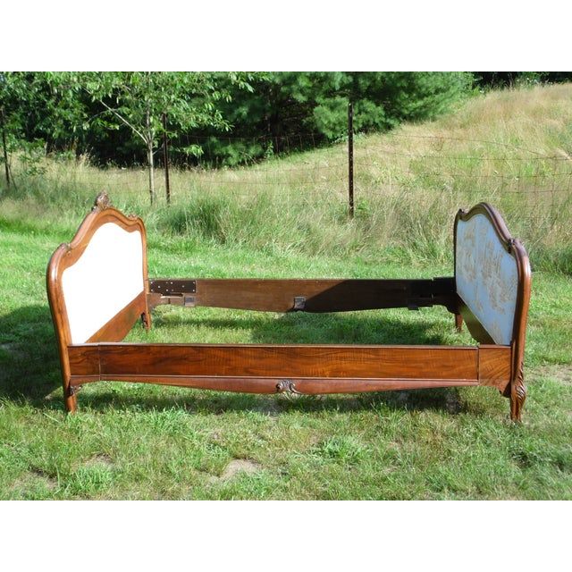 Antique French Louis XV Carved Solid Wood Toile Upholstered Full Double Bed - Image 9 of 11