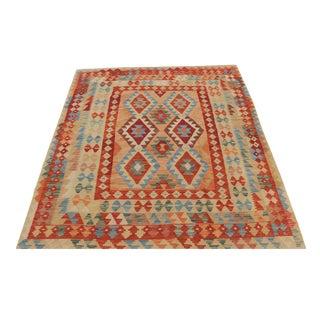 Afghani Design Vegetable Dyed Wool Kilim Rug - 5′10″ × 6′2″