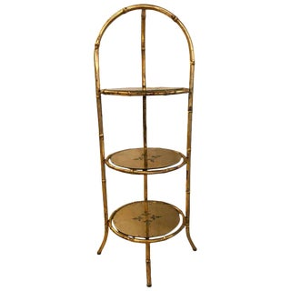 Hollywood Regency Style Faux Bamboo Églomisé 3-Tier Ètagerè