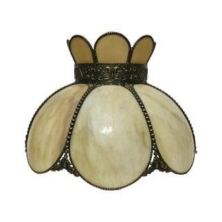Cream & Tan Slag Glass Lamp Shade