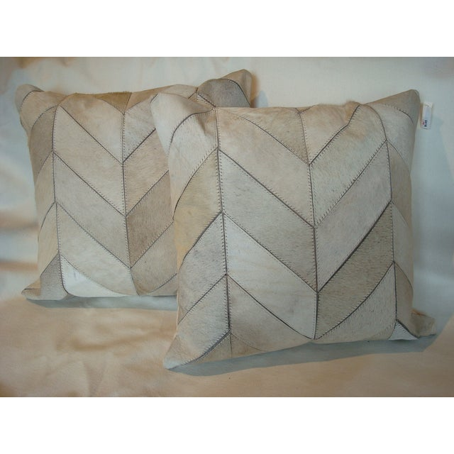 Image of Winter White 20 X 20Cowhide Chevron Pattern Pillow