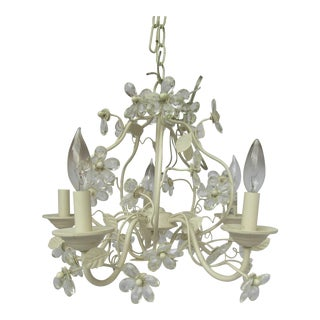 Ivory Tole Chandelier with Crystals